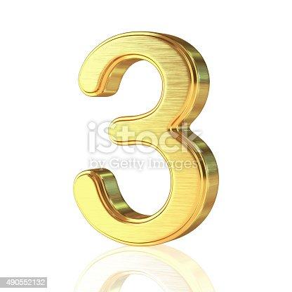 istock Gold Alphabet Number 3 490552132