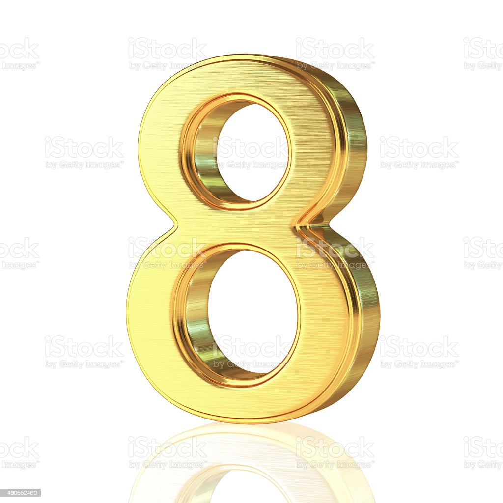 Gold Alphabet Number 8 stock photo