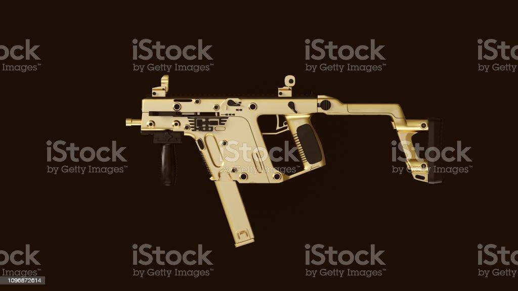 Gold an Black Compact Sub Machine Gun stock photo