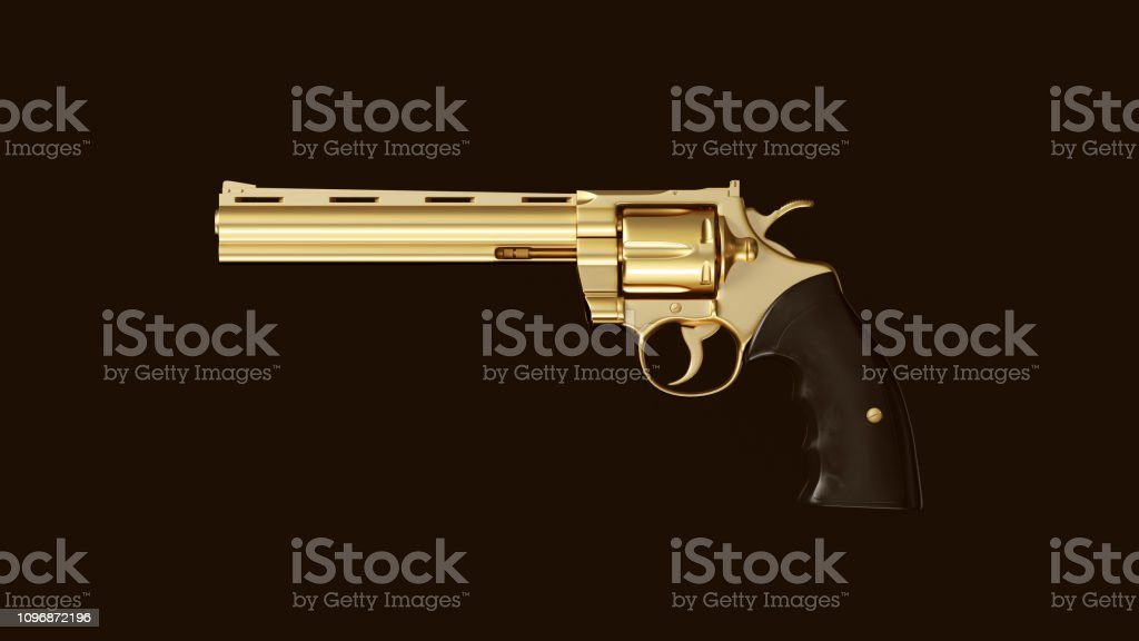 Gold an Black Double Action Revolver stock photo