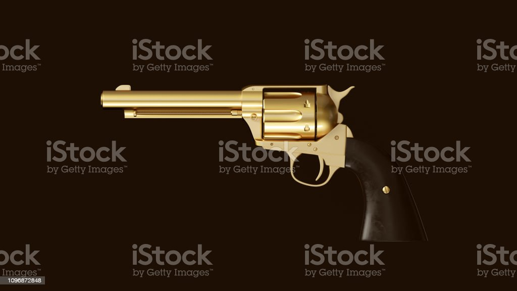 Gold an Black Large Double Action Revolver stock photo