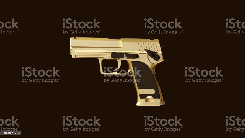 Gold an Black Modern Hand Gun stock photo