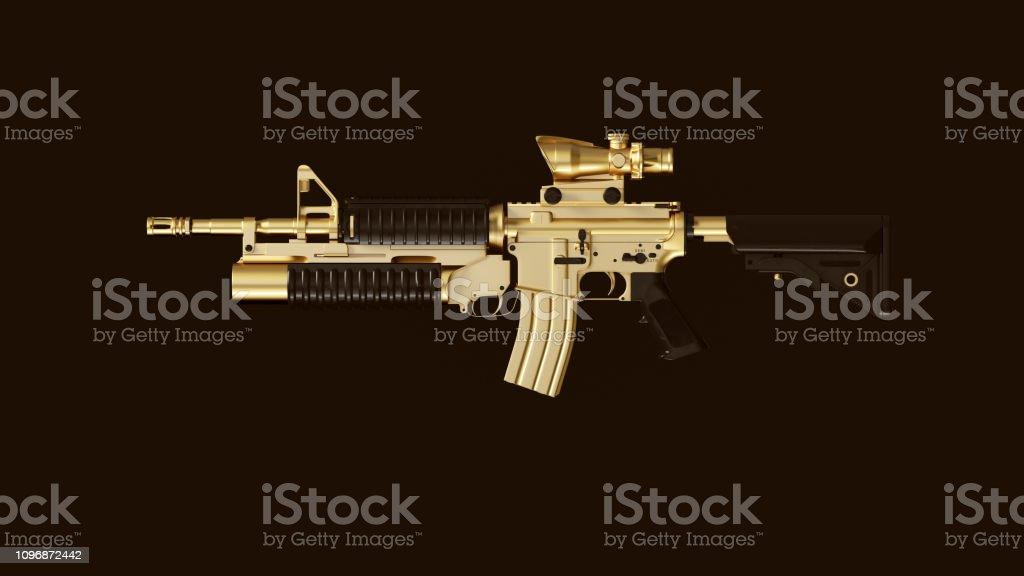 Gold an Black Modern Rifle with a Scope and Grenade Launcher stock photo