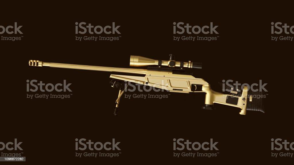Gold an Black Sniper Rifle stock photo