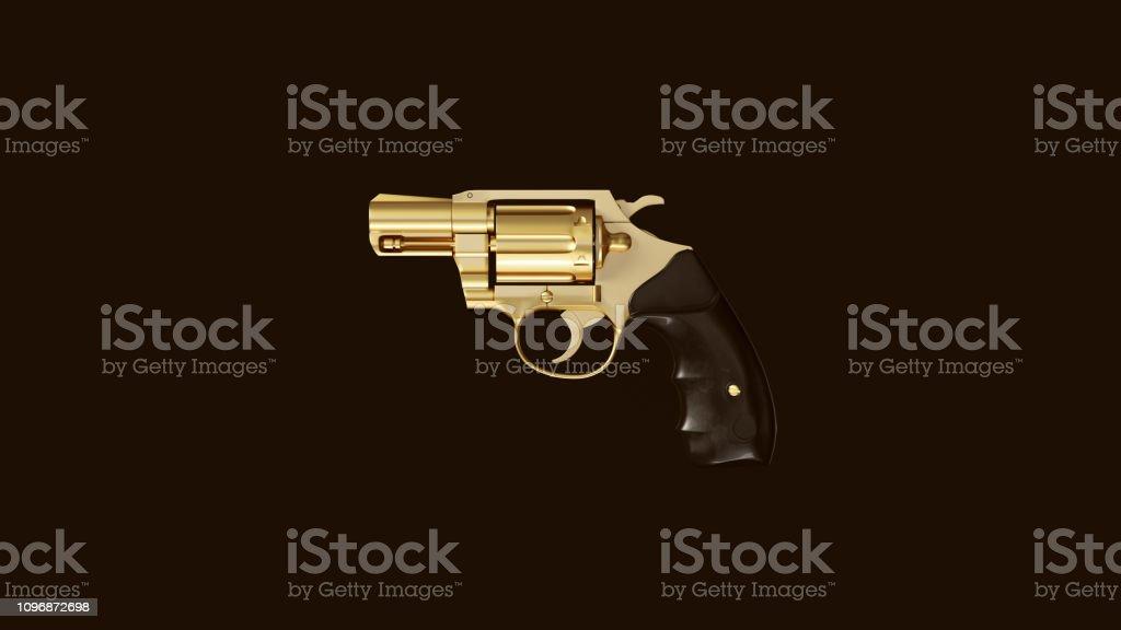Gold an Black Snub Nosed Pistol stock photo