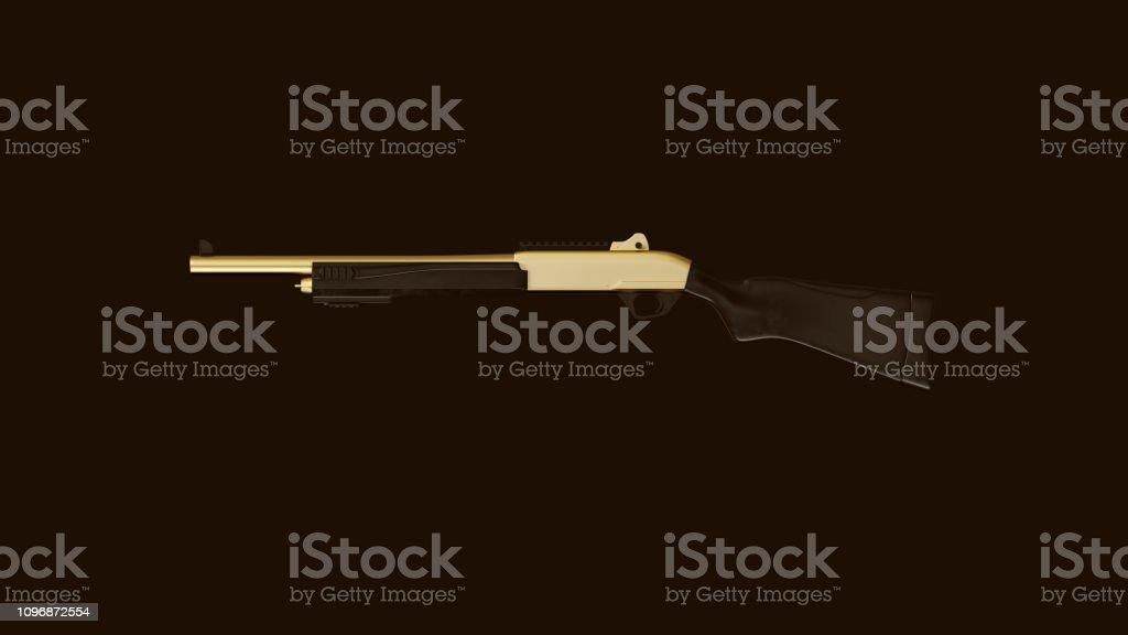 Gold an Black Tactical Shotgun stock photo