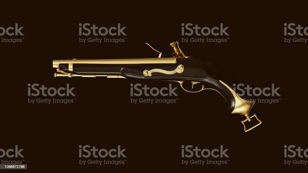 Gold an Black Vintage Pistol stock photo