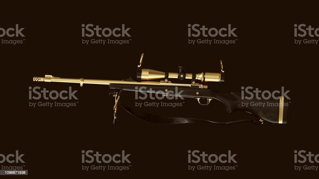 Gold an Black Vintage Sniper Rifle stock photo
