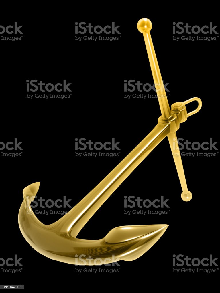 Gold Anchor Isolated Against The Black Background Royalty Free Stock Photo