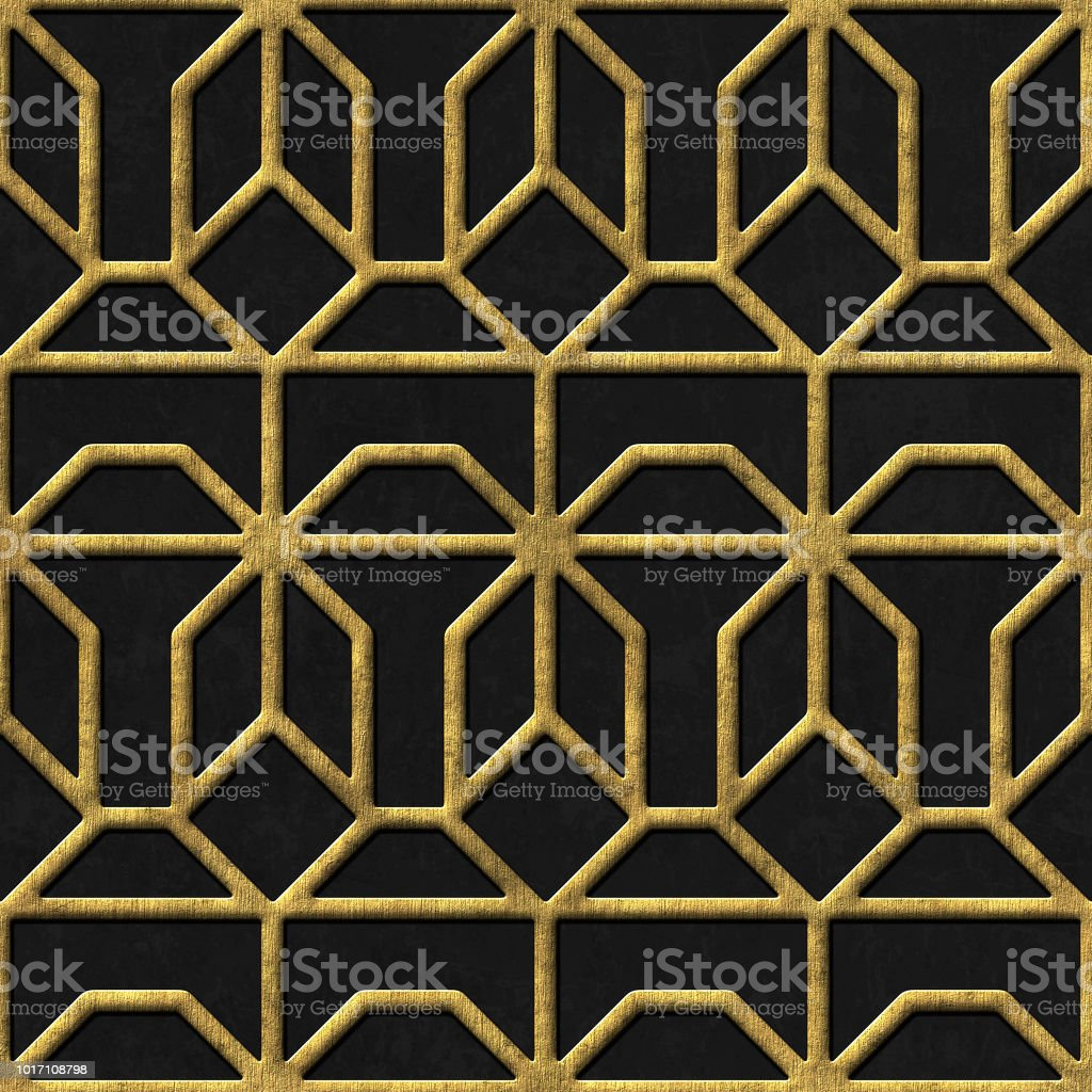 Gold and black seamless texture with relief pattern stock photo