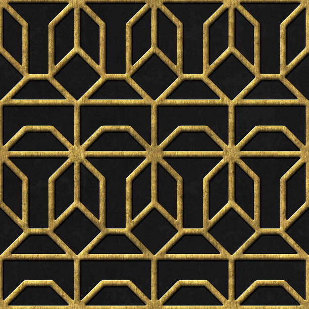 gold and black seamless texture with relief pattern - art nouveau stock photos and pictures