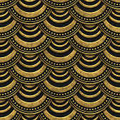 Gold and black seamless texture with relief pattern, scales fish