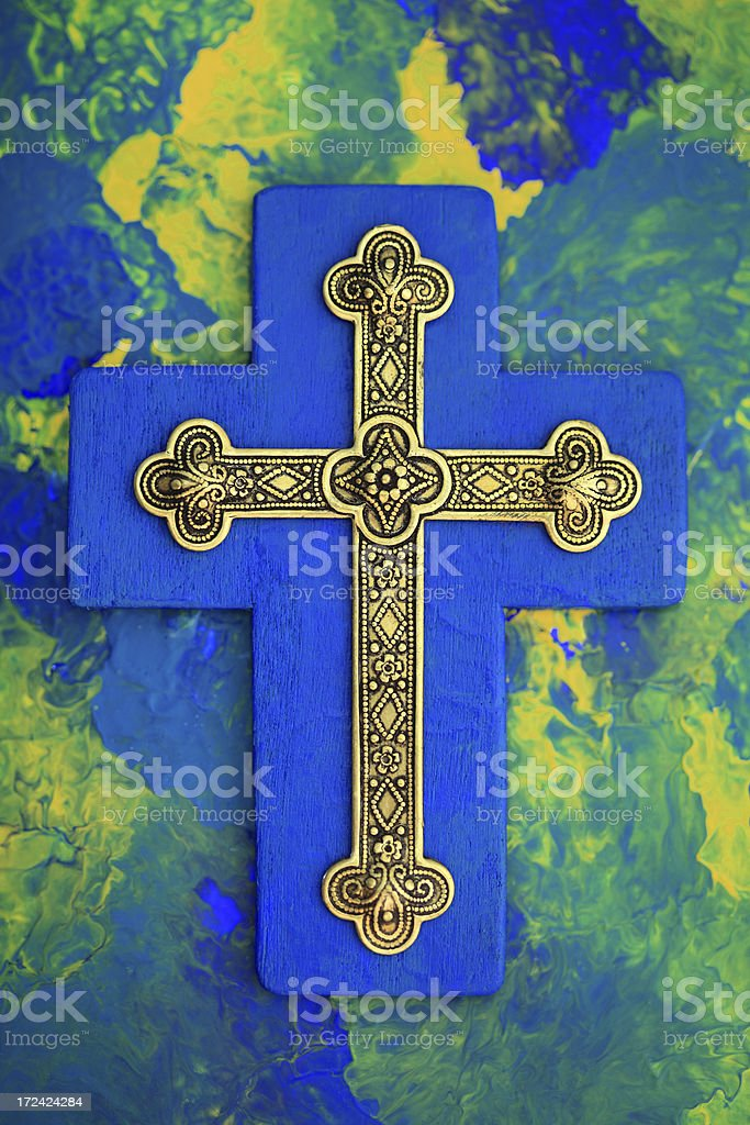 Gold and Blue Cross royalty-free stock photo