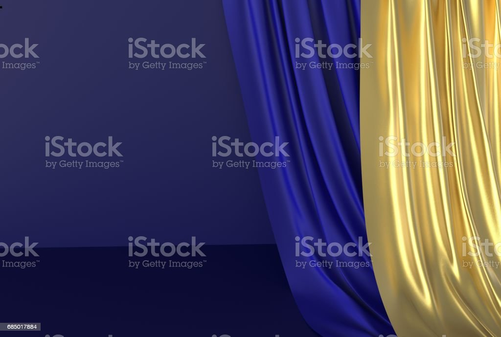 Gold and blue drapery stock photo