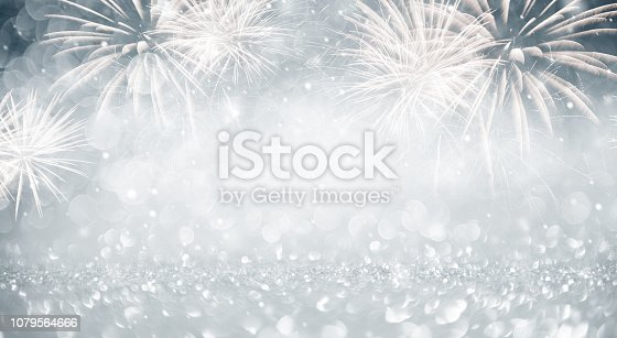 istock Gold and blue Fireworks and bokeh in New Year eve and copy space. Abstract background holiday. 1079564666