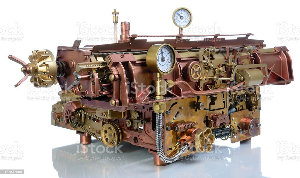 Gold and bronze steampunk mechanism stock photo