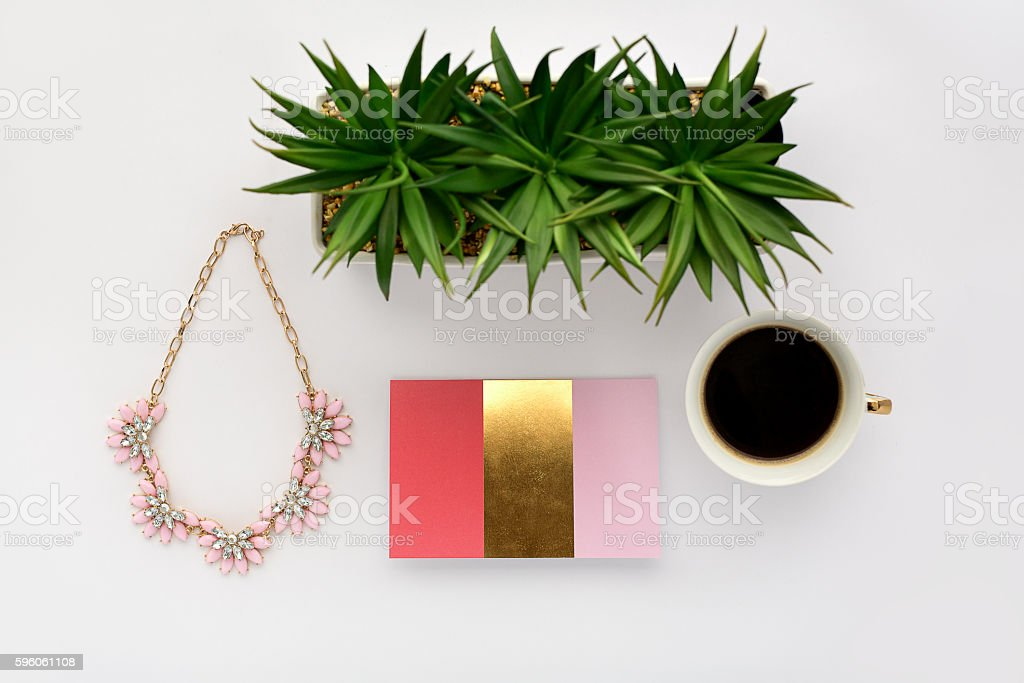Gold and Coral Marketing Set royalty-free stock photo
