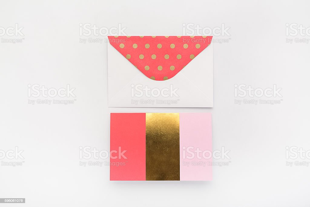 Gold and Coral Stationery Set royalty-free stock photo