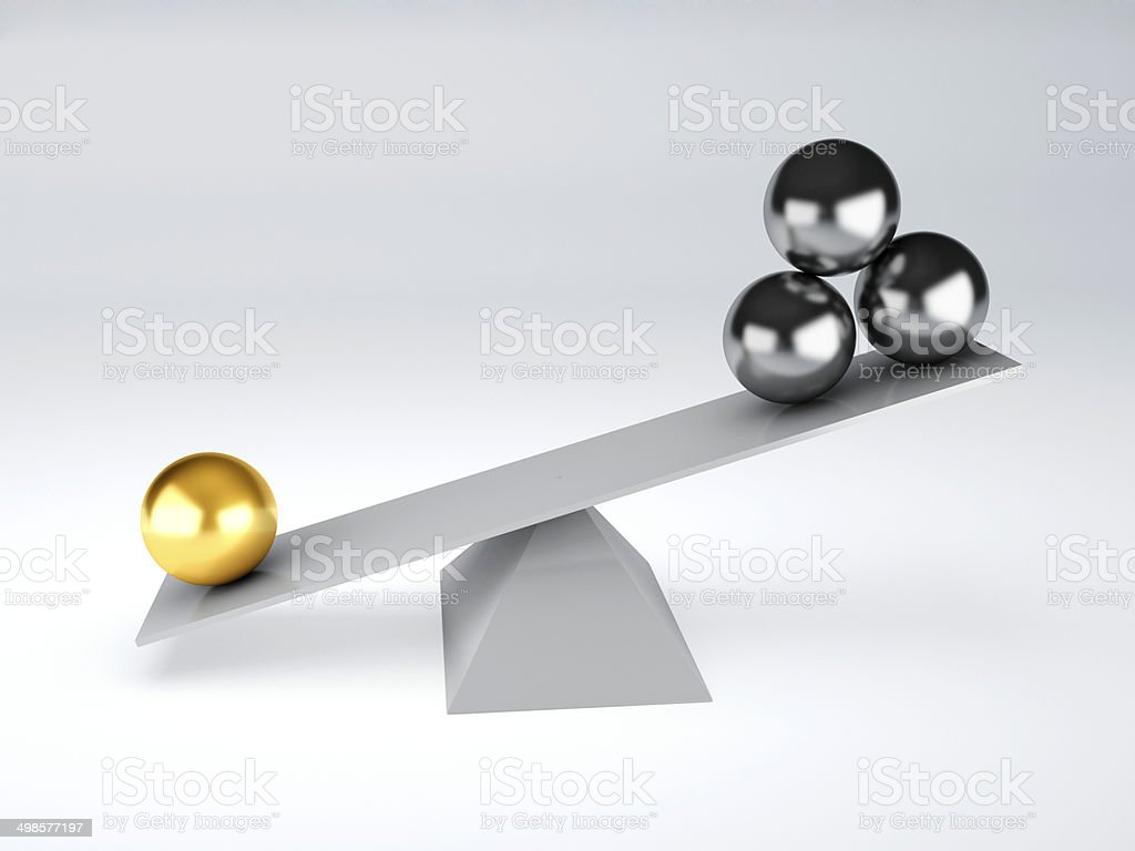 gold and metal spheres in white seesaw balance concept stock photo more pictures of abstract. Black Bedroom Furniture Sets. Home Design Ideas