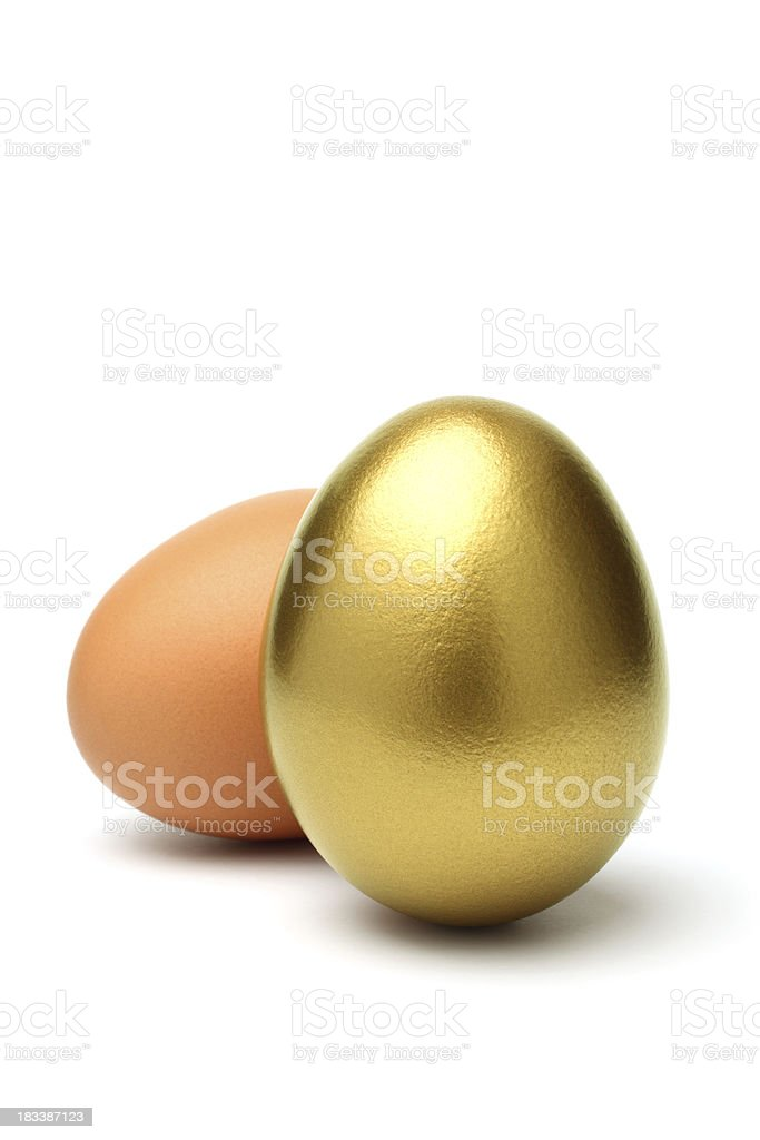 Gold and Ordinary Egg on White Background stock photo