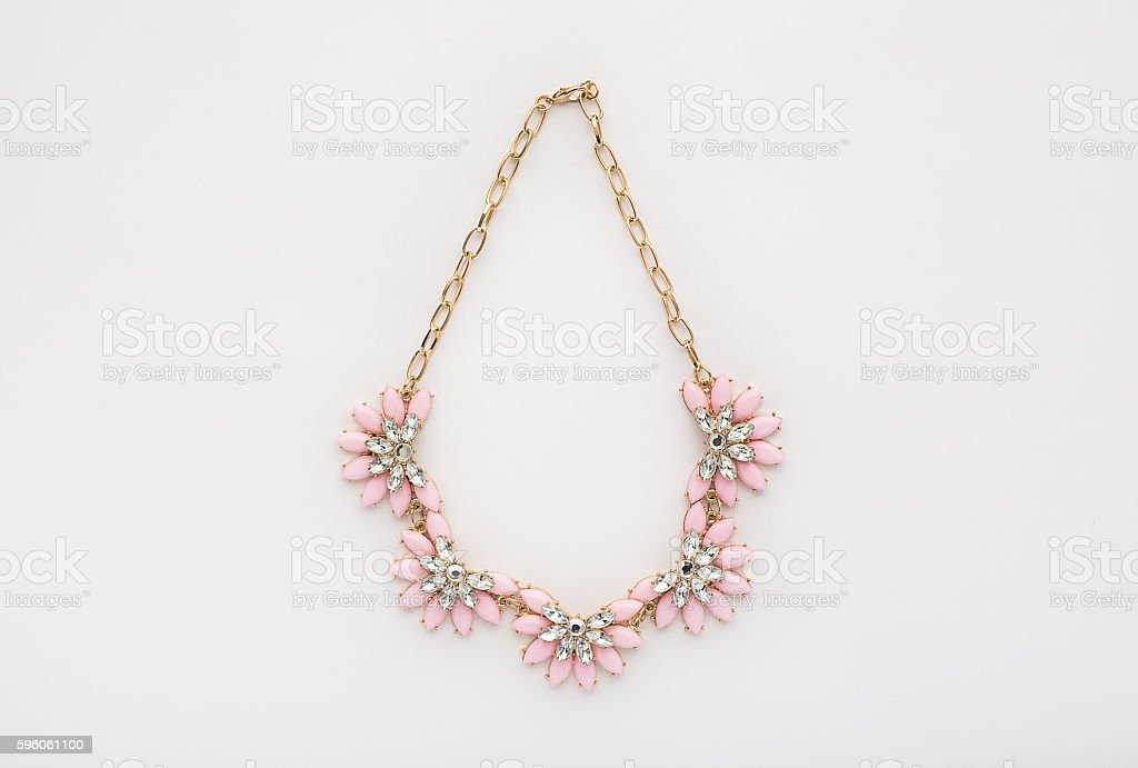 Gold and Pink Statement Necklace stock photo