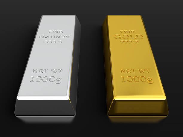gold and platinum ingots - platinum stock photos and pictures