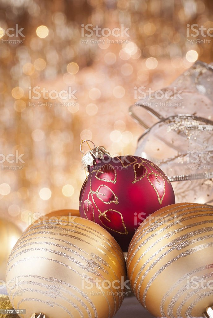 gold and red christmas baubles royalty-free stock photo