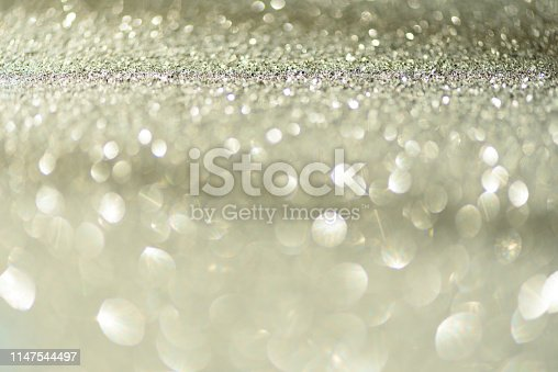 881350776 istock photo Gold and silver abstract bokeh lights. Shiny glitter background with copy space. New year and Christmas concept. Sparkling greeting card 1147544497
