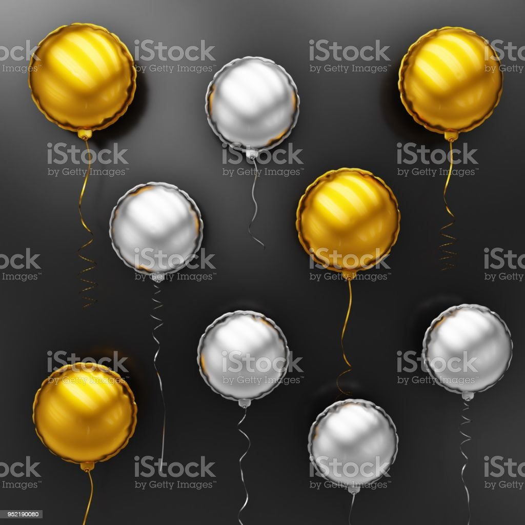 Gold and Silver Balloons Floating in front view - Stock Image stock photo