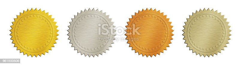 istock Gold and silver brushed metal badges over white 961500506
