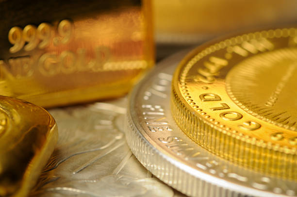 Gold and Silver Bullion Coins stock photo