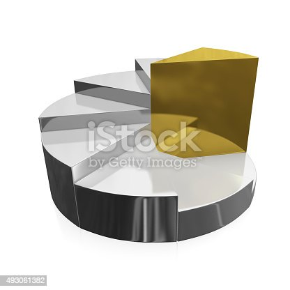 172875849 istock photo Gold and Silver Business Growth Pie Chart 493061382