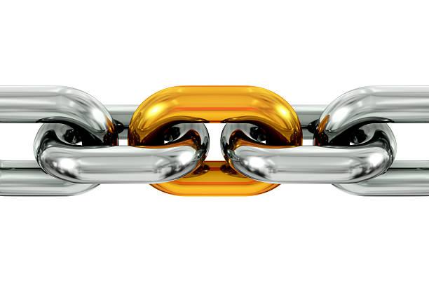 gold and silver chain - schakel stockfoto's en -beelden