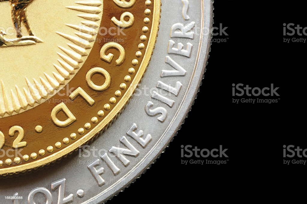 Gold and Silver Coin Isolated on Black royalty-free stock photo