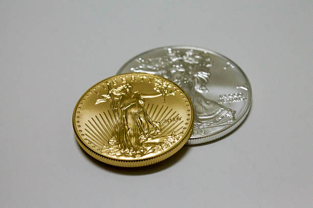 Gold and Silver Coin Low Angle View stock photo