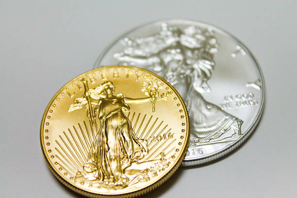 Gold and Silver Coin Top View Close UP stock photo
