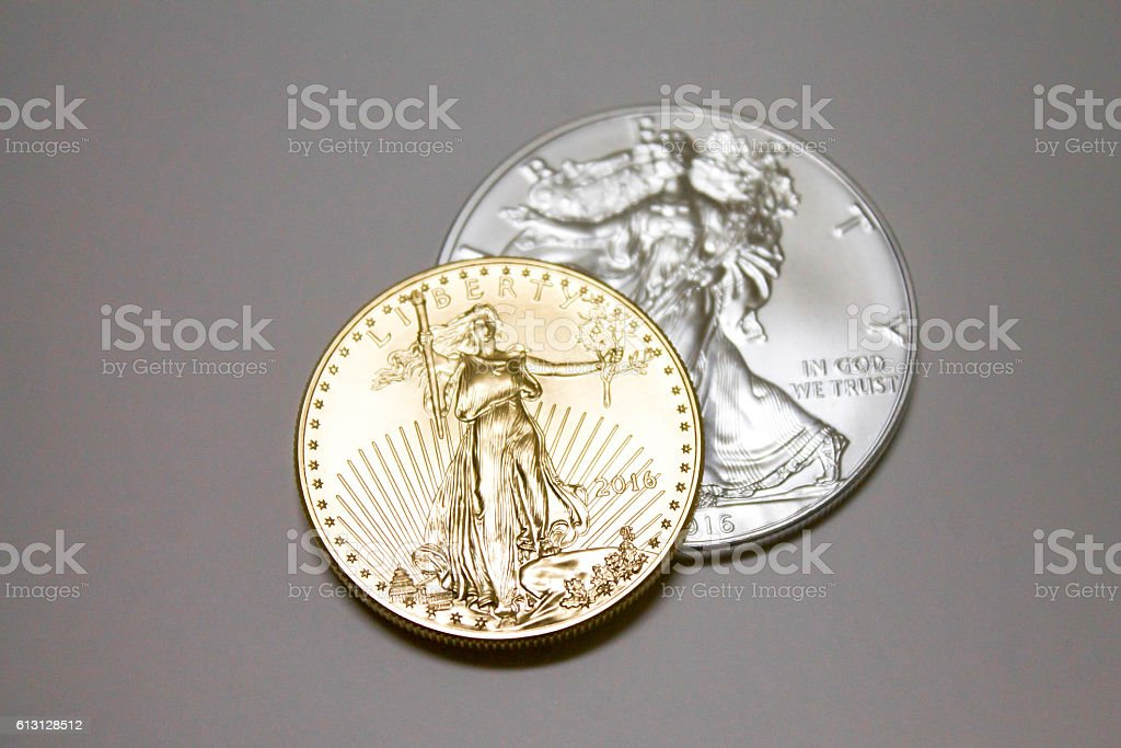 Gold and Silver Coin Top View stock photo