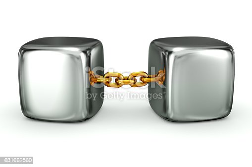 3D rendering of two silver cubes connected by a gold chain isolated on white background.