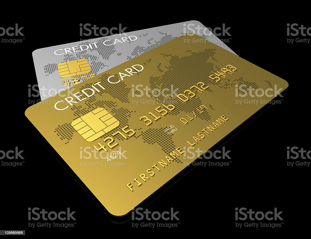 Gold and silver credit card stock photo