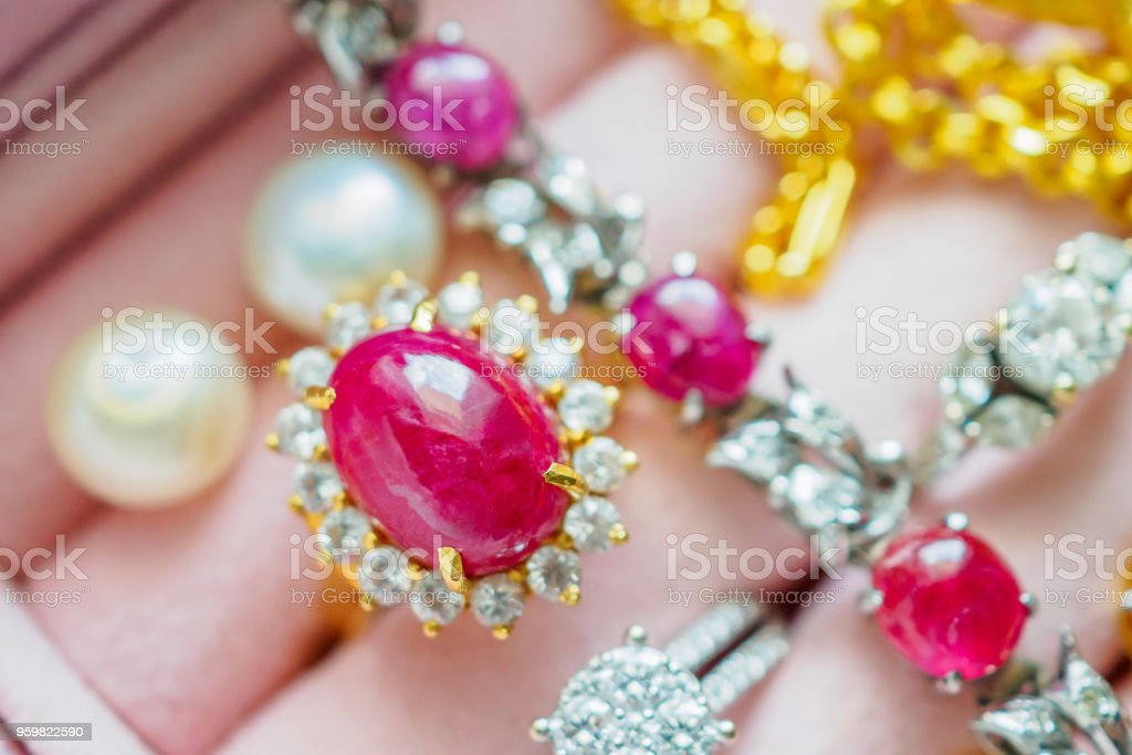 Gold And Silver Diamond Gemstone Ruby Ring Necklaces And Pearl