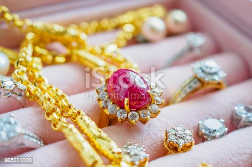 Gold And Silver Diamond Gemstone Sapphire Ring Necklaces And Pearl Earrings In Luxury Jewelry Box Stock Photo & More Pictures of Beauty
