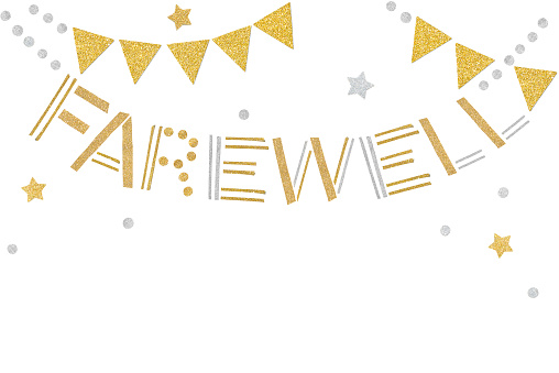 Gold and silver farewell bunting paper cut on white background - isolated