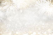 istock Gold and silver Fireworks and bokeh in New Year eve and copy space. Abstract background holiday. 1143980343