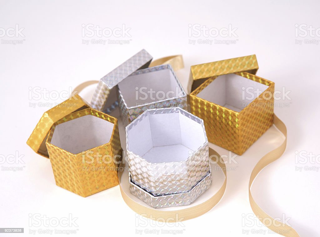 Gold and Silver Gift Boxes royalty-free stock photo