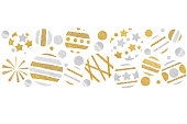 istock Gold and silver glitter christmas balls paper cut 1030759120