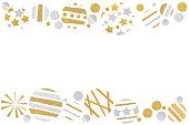 istock Gold and silver glitter christmas balls paper cut 1030759126