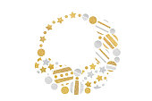 istock Gold and silver glitter christmas balls wreath paper cut 1030759078