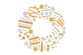 istock Gold and silver glitter christmas balls wreath 1026473846