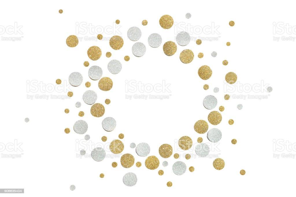 8cb0dad24c4 Goud en zilver glitter cirkel papier knippen op witte achtergrond royalty  free stockfoto