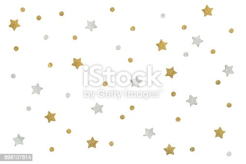 istock Gold and silver glitter star paper cut on white background 898107814